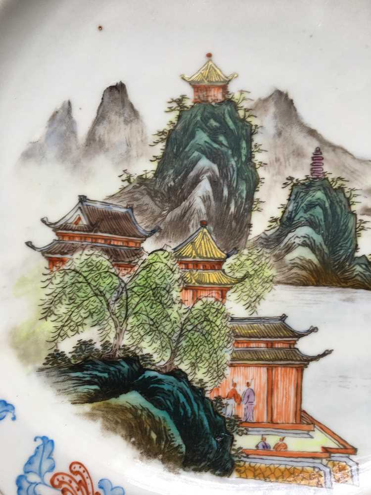 TWO FAMILLE ROSE 'LANDSCAPE' PLATES GUANGXU MARK - Image 5 of 19
