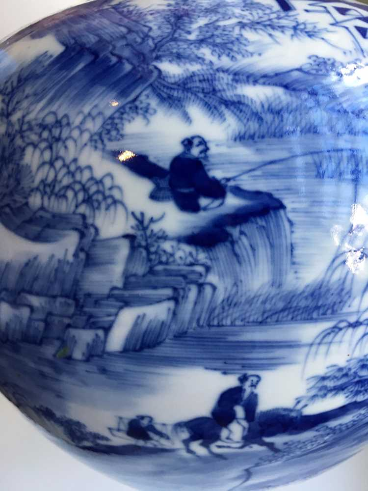 BLUE AND WHITE BOTTLE VASE 19TH-20TH CENTURY - Image 5 of 19