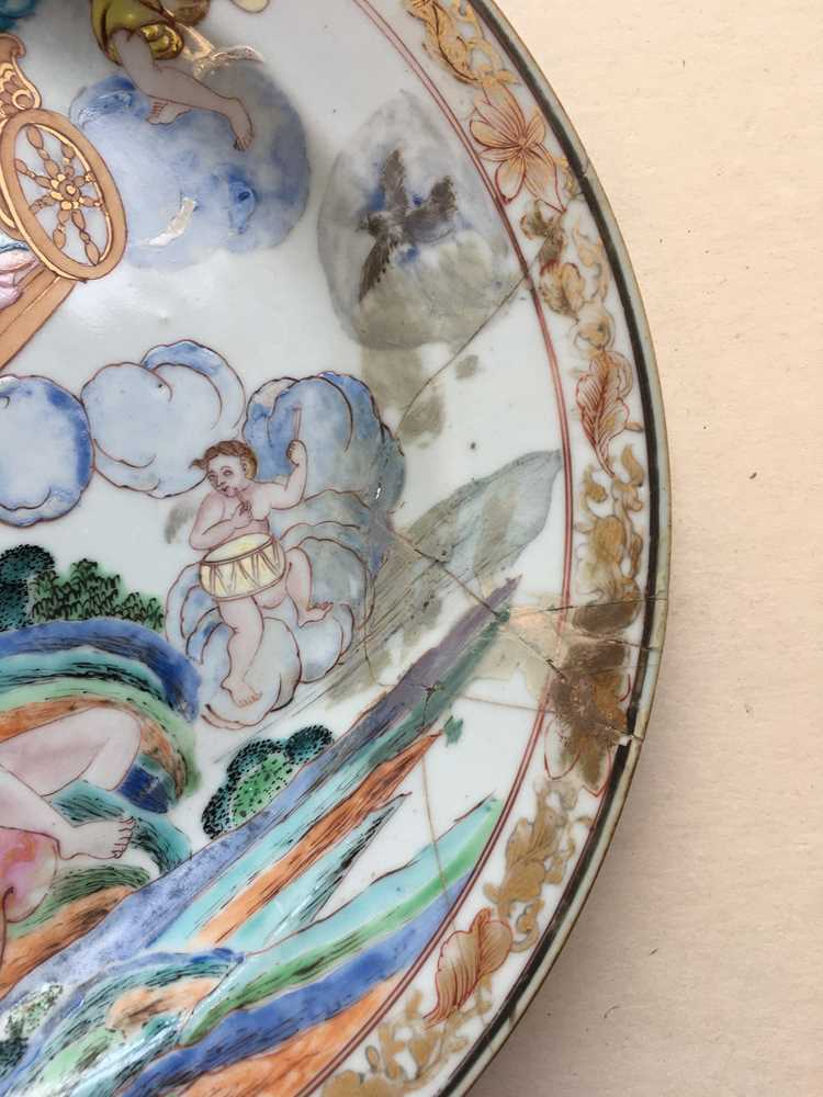 (A PRIVATE ENGLISH COLLECTION, LOT 117-125) FAMILLE ROSE EXPORT 'EUROPEAN SUBJECT' DISH QING DYNASTY - Image 5 of 25