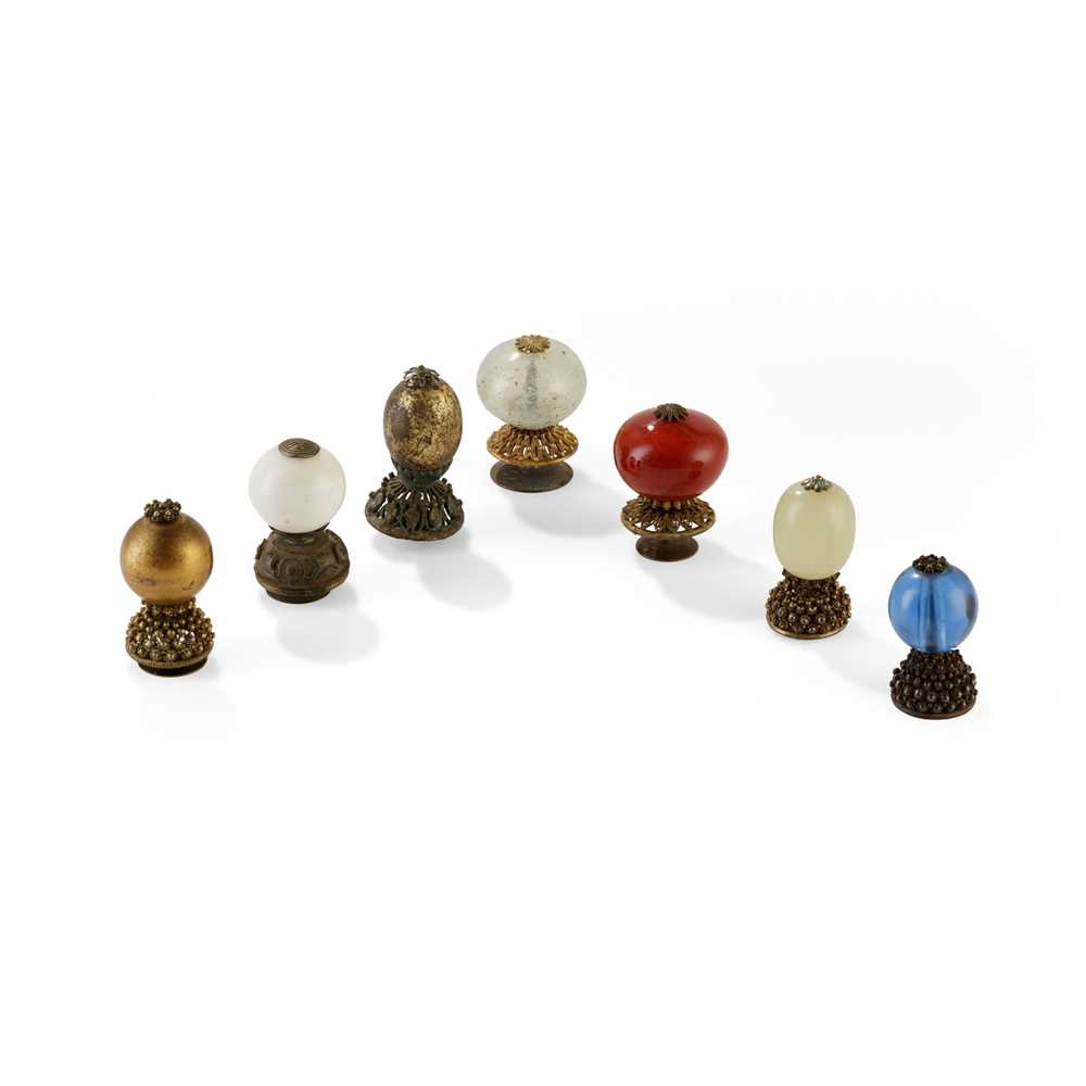 GROUP OF SEVEN HAT FINIALS QING DYNASTY, 19TH CENTURY