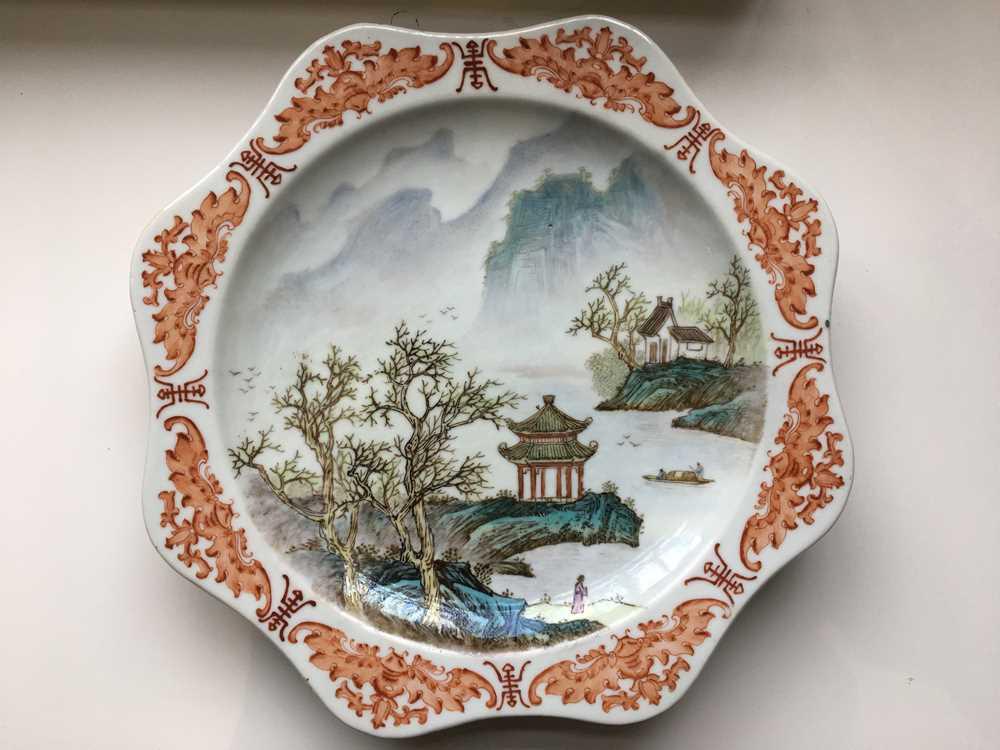 TWO FAMILLE ROSE 'LANDSCAPE' PLATES GUANGXU MARK - Image 11 of 19