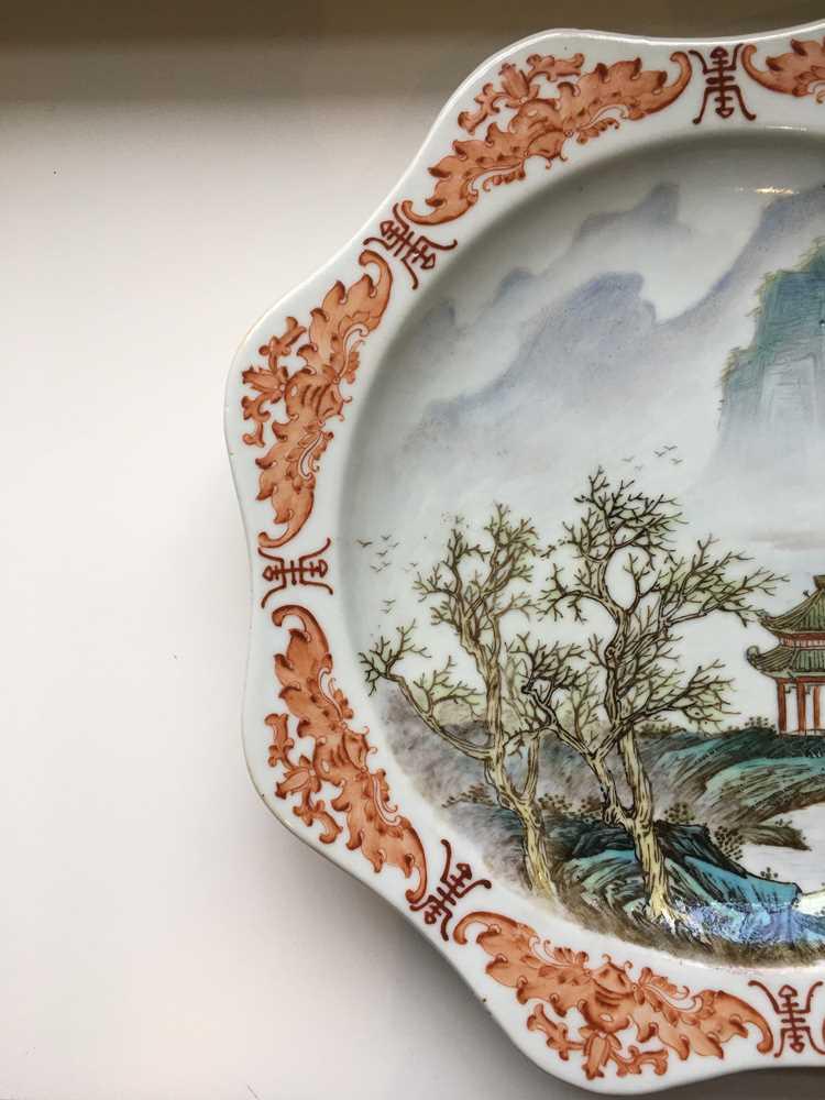 TWO FAMILLE ROSE 'LANDSCAPE' PLATES GUANGXU MARK - Image 12 of 19