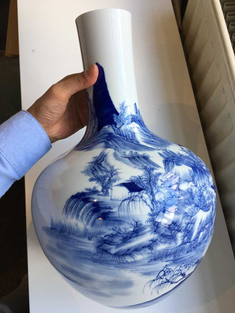 BLUE AND WHITE BOTTLE VASE 19TH-20TH CENTURY - Image 15 of 19