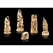 GROUP OF FIVE JAPANESE IVORY CARVINGS MEIJI PERIOD