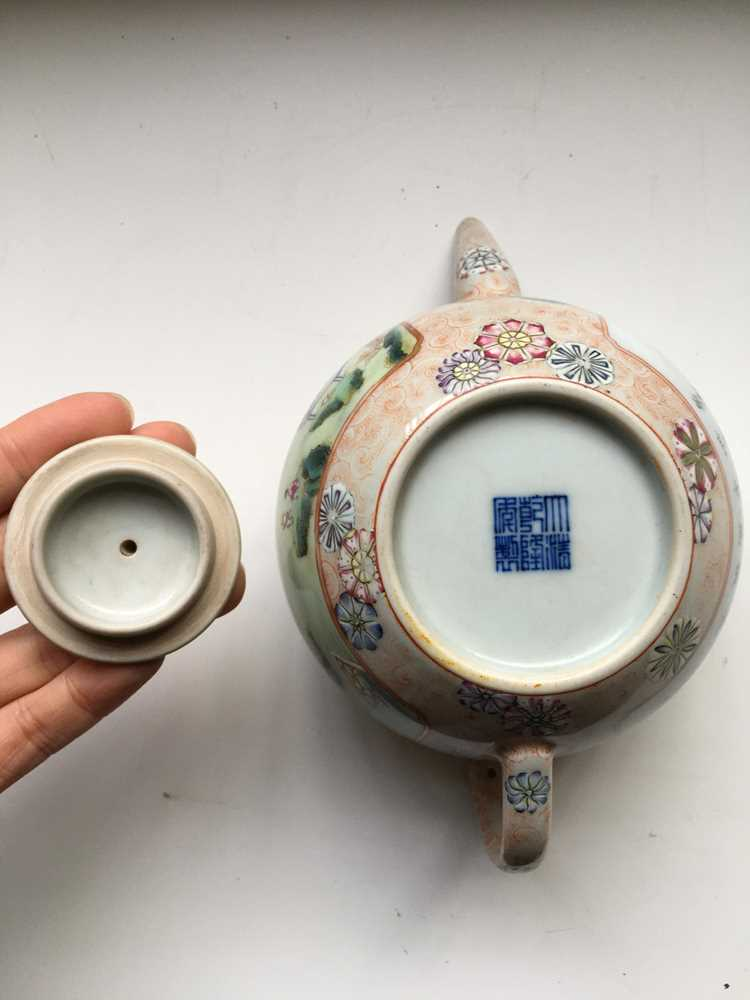 FAMILLE ROSE 'TEA COOKING' INSCRIBED LIDDED TEAPOT QIANLONG MARK BUT LATER - Image 5 of 23