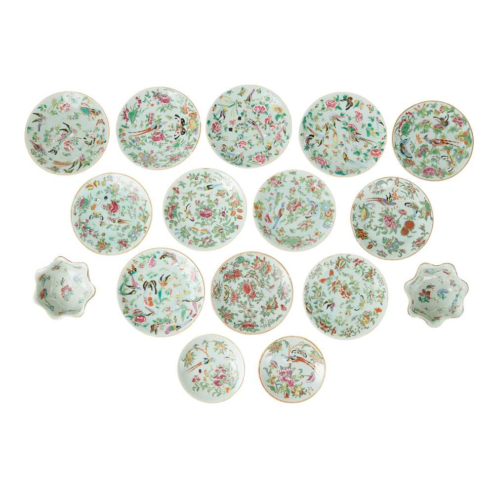 GROUP OF SIXTEEN FAMILLE ROSE CELADON-GROUND WARES 19TH-20TH CENTURY - Image 2 of 3