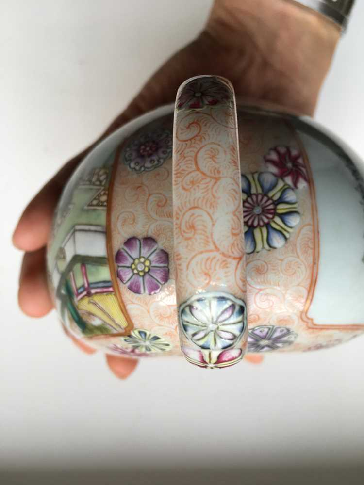 FAMILLE ROSE 'TEA COOKING' INSCRIBED LIDDED TEAPOT QIANLONG MARK BUT LATER - Image 16 of 23