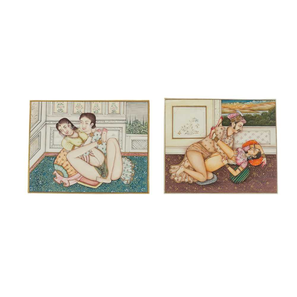 TWO EROTIC PAINTINGS ON IVORY INDIA, 19TH CENTURY
