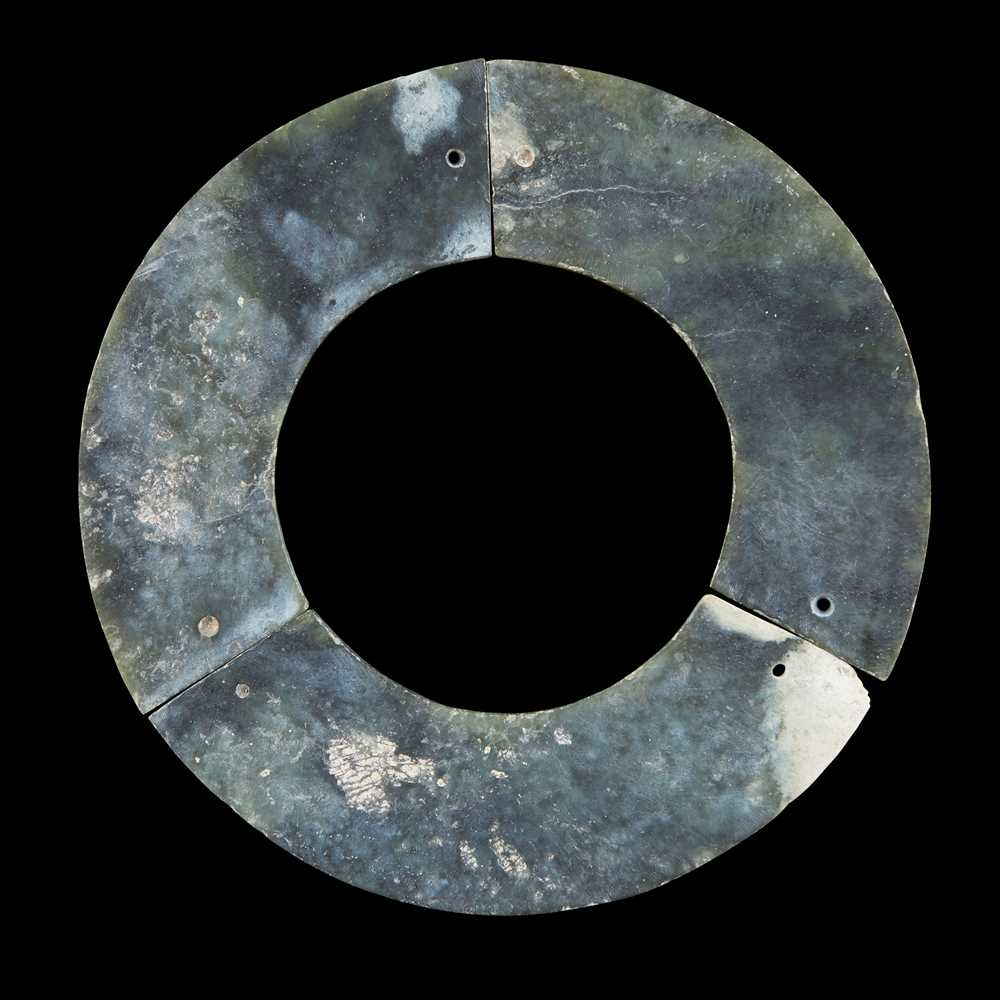CELADON JADE 'TRIPLE HUANG' BI DISC NEOLITHIC PERIOD OR LATER - Image 2 of 12