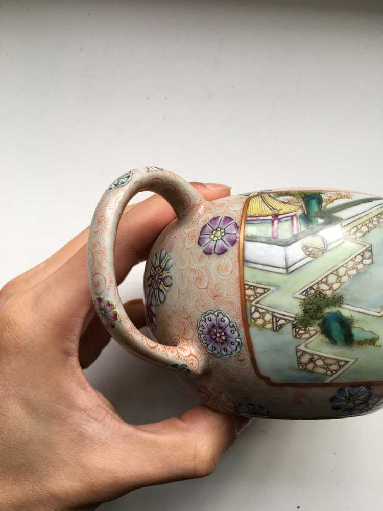 FAMILLE ROSE 'TEA COOKING' INSCRIBED LIDDED TEAPOT QIANLONG MARK BUT LATER - Image 14 of 23