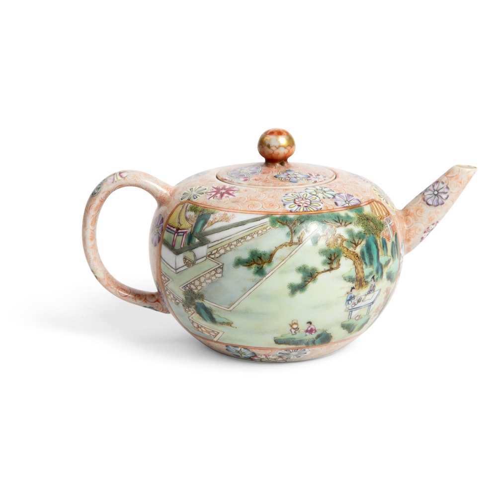 FAMILLE ROSE 'TEA COOKING' INSCRIBED LIDDED TEAPOT QIANLONG MARK BUT LATER