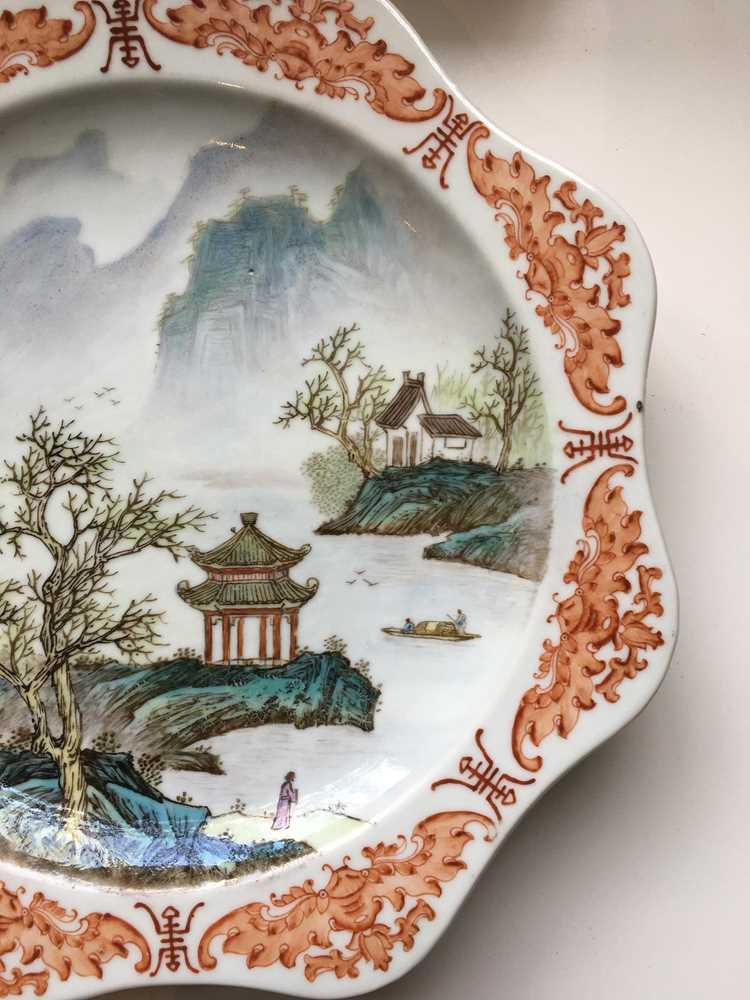 TWO FAMILLE ROSE 'LANDSCAPE' PLATES GUANGXU MARK - Image 15 of 19