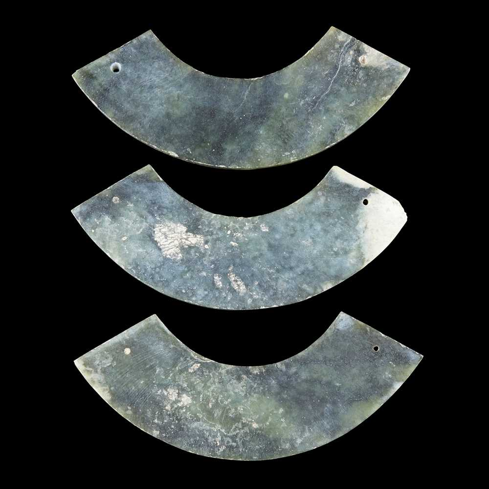 CELADON JADE 'TRIPLE HUANG' BI DISC NEOLITHIC PERIOD OR LATER - Image 3 of 12