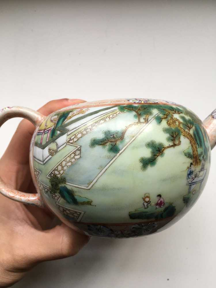FAMILLE ROSE 'TEA COOKING' INSCRIBED LIDDED TEAPOT QIANLONG MARK BUT LATER - Image 10 of 23