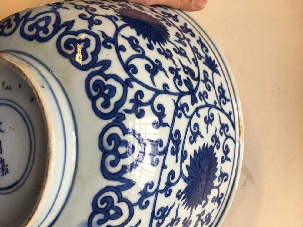 LARGE BLUE AND WHITE 'LOTUS' BOWL JIAJING MARK AND POSSIBLE OF KANGXI PERIOD - Image 9 of 30
