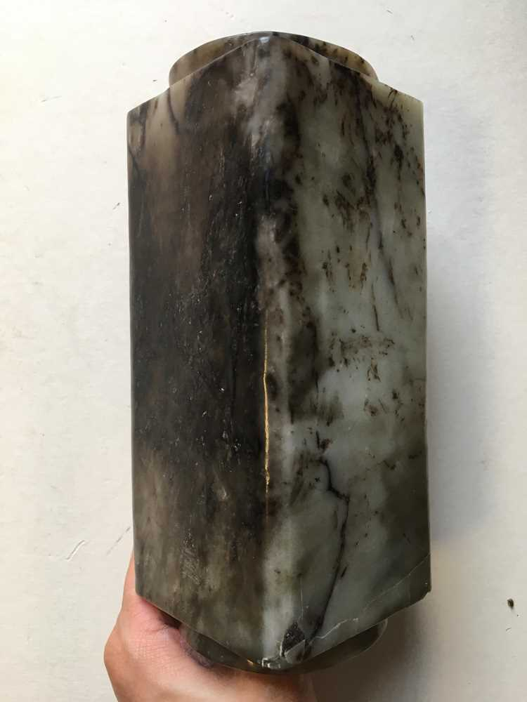 GREY AND RUSSET JADE CONG - Image 7 of 17