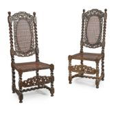 A PAIR OF CHARLES II STAINED AND EBONISED BEECH CHAIRS LATE 17TH CENTURY