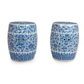 A PAIR OF CHINESE BLUE AND WHITE PORCELAIN GARDEN SEATS 20TH CENTURY