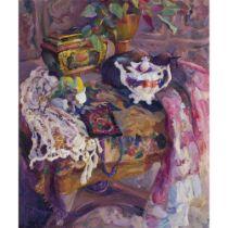 JOSEPHINE GRAHAM (SCOTTISH circa 1930-) THE WHITE TEAPOT