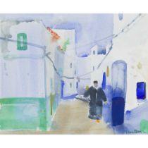 GLEN SCOULLER R.S.W., R.G.I. (SCOTTISH 1950-) BLUE STREET, ASILAH