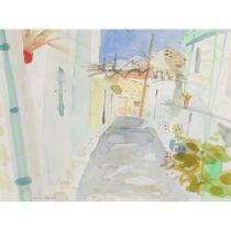 GLEN SCOULLER R.S.W., R.G.I. (SCOTTISH 1950-) STREET VINES, OMIDHOS, CYPRUS