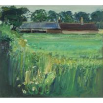 JAMES FULLARTON (SCOTTISH 1946-) FARM BUILDINGS AND WILD FLOWERS