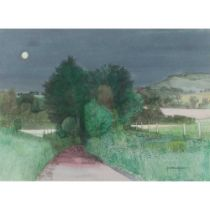 JOSEPH MAXWELL R.W.S (SCOTTISH 1925-2015) COUNTRY ROAD BY MOONLIGHT