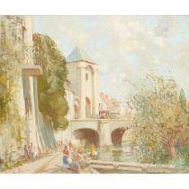 WILLIAM LEE HANKEY R.W.S. (BRITISH 1869-1952) WASH-DAY IN A FRENCH RIVERSIDE TOWN