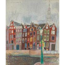LEON MORROCCO R.S.A, R.G.I. (SCOTTISH 1942-) STREETS NEAR REMBRANDT'S HOUSE, AMSTERDAM