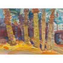GLEN SCOULLER R.S.W., R.G.I. (SCOTTISH 1950-) PALM TREES