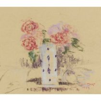 PAUL LUCIEN MAZE (FRENCH 1887-1979) RED ROSES, BLUE AND WHITE VASE