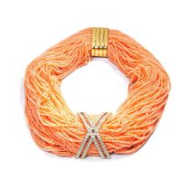 A coral and diamond-set necklace