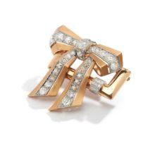 A diamond bow brooch, 1940s