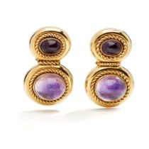 A pair of amethyst earrings, by Kiki McDonough