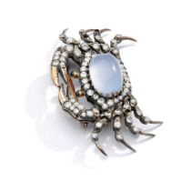 A late 19th century chalcedony and diamond crab brooch