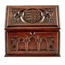ENGLISH GOTHIC REVIVAL STATIONERY BOX, CIRCA 1890