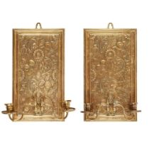 MANNER OF BRUCE TALBERT PAIR OF AESTHETIC MOVEMENT WALL SCONCES, CIRCA 1876