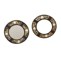 ENGLISH PAIR OF ARTS & CRAFTS STAINED GLASS ROUNDELS, CIRCA 1900