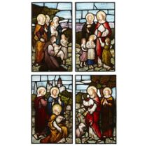 MAYER & CO., MUNICH SUITE OF FOUR STAINED GLASS PANELS, CIRCA 1880