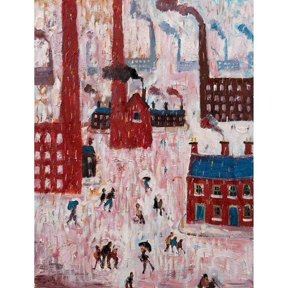 Simeon Stafford (British 1956-) Rain, Industrial Town