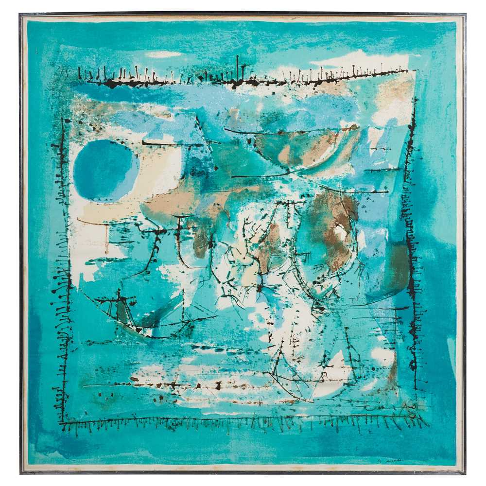 Zao Wou-Ki (Chinese / French 1921-2013) for Ascher 'Paysage Bleu' Scarf / Square, designed 1955 - Image 2 of 6