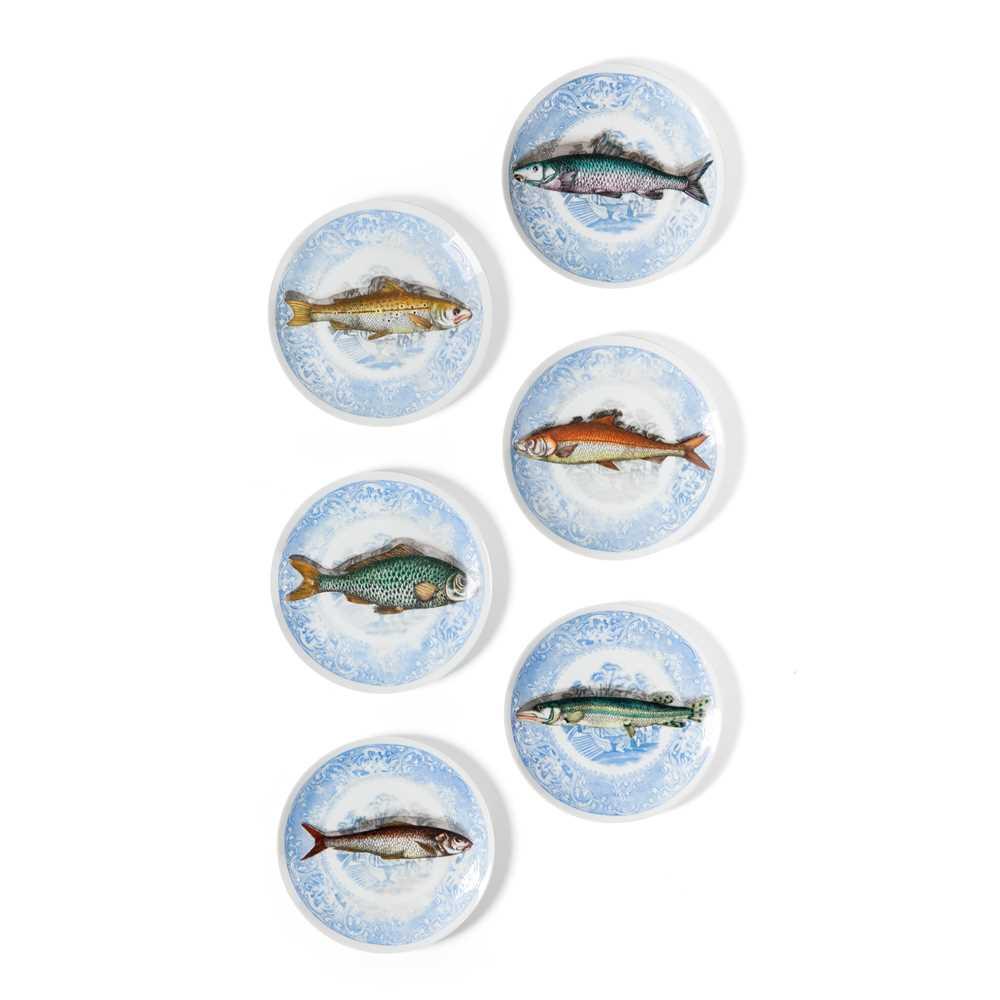 Piero Fornasetti (Italian 1913-1988) Set of Six 'Piscibus' Trompe L'Oeil Plates