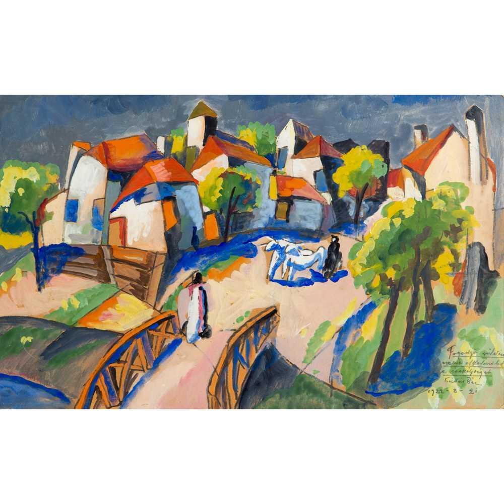 Béla Kádár (Hungarian 1877-1956) Village Scene, 1922