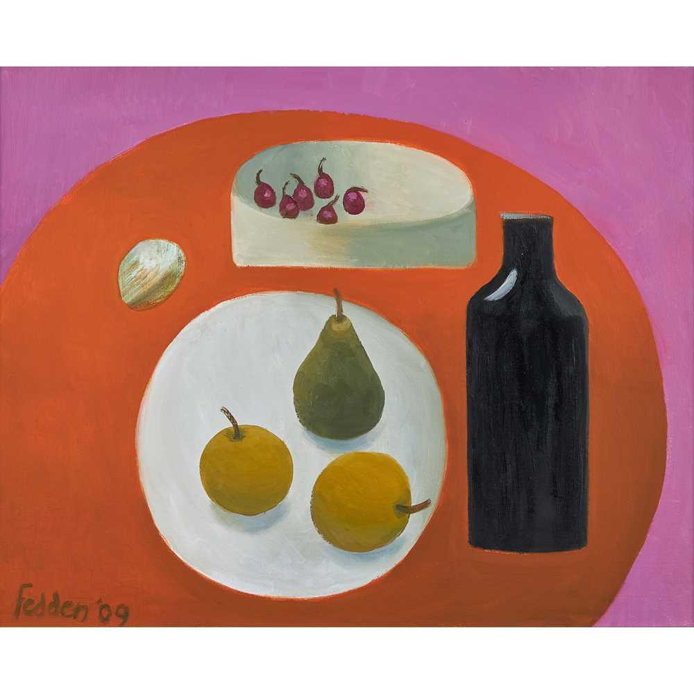 Mary Fedden O.B.E., R.A., R.W.A. (British 1915-2012) Black Bottle, Pear and Apples, 2009