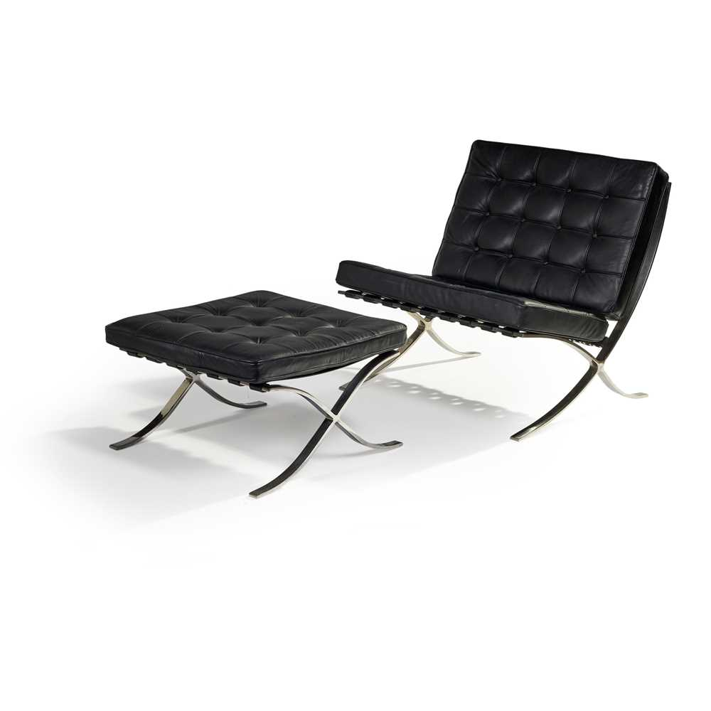 Ludwig Mies van der Rohe (German 1886-1969) Pair of 'Barcelona' Chairs & Ottomans