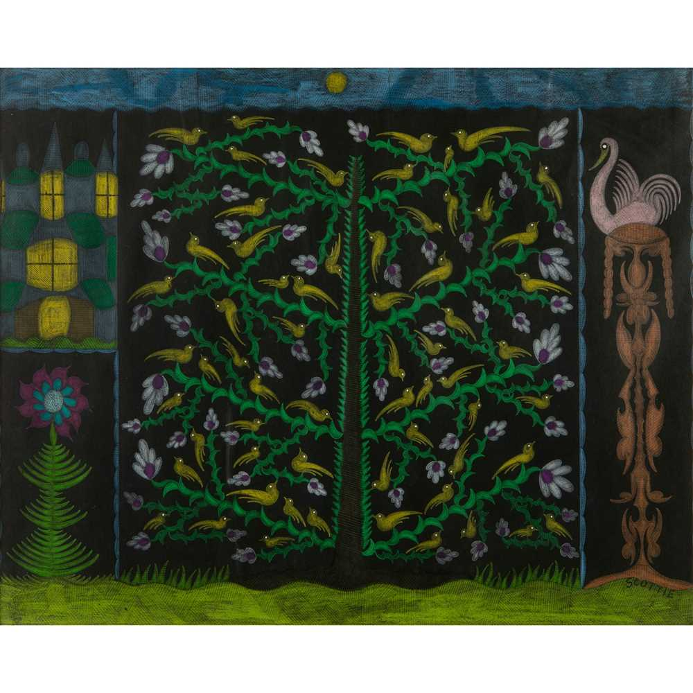 Scottie Wilson (British 1890-1972) Birds & Flowers, 1958