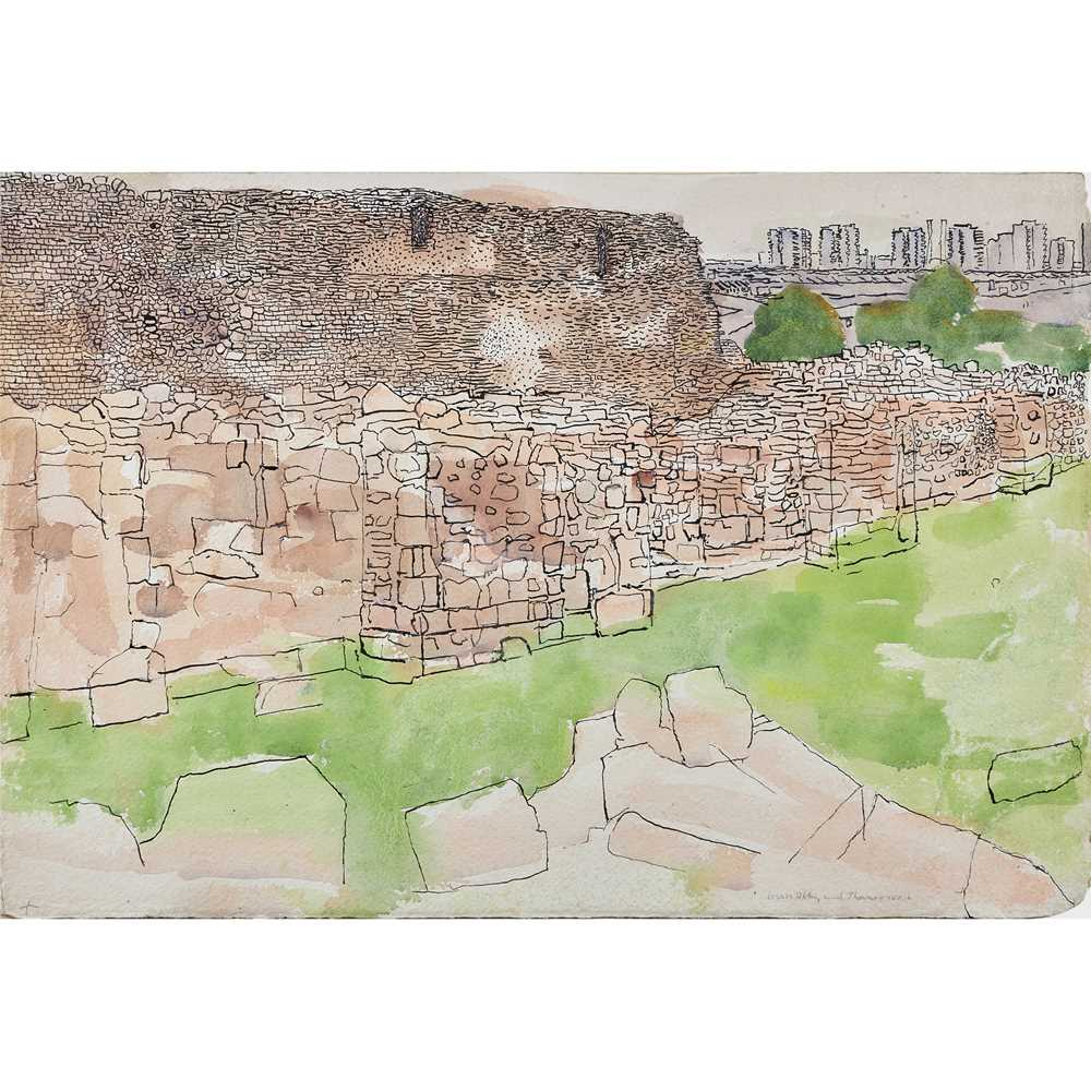 Anthony Gross (British 1905-1984) Lesnes Abbey with Thamesmead, circa 1980