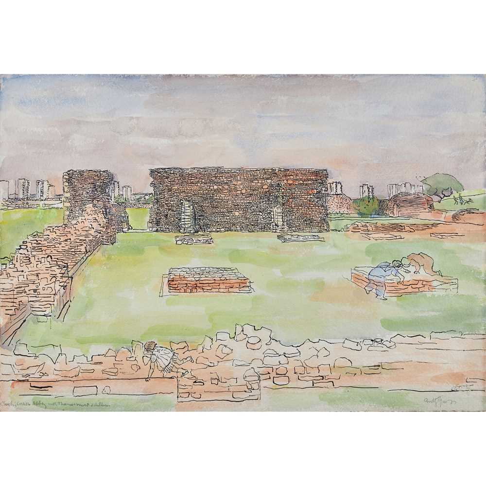 Anthony Gross (British 1905-1984) Church, Lesnes Abbey with Thamesmead and children, circa 1980