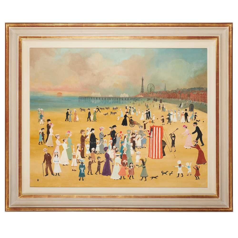 Helen Bradley M.B.E. (British 1900-1979) Blackpool Sands with Punch and Judy Show - Image 2 of 3