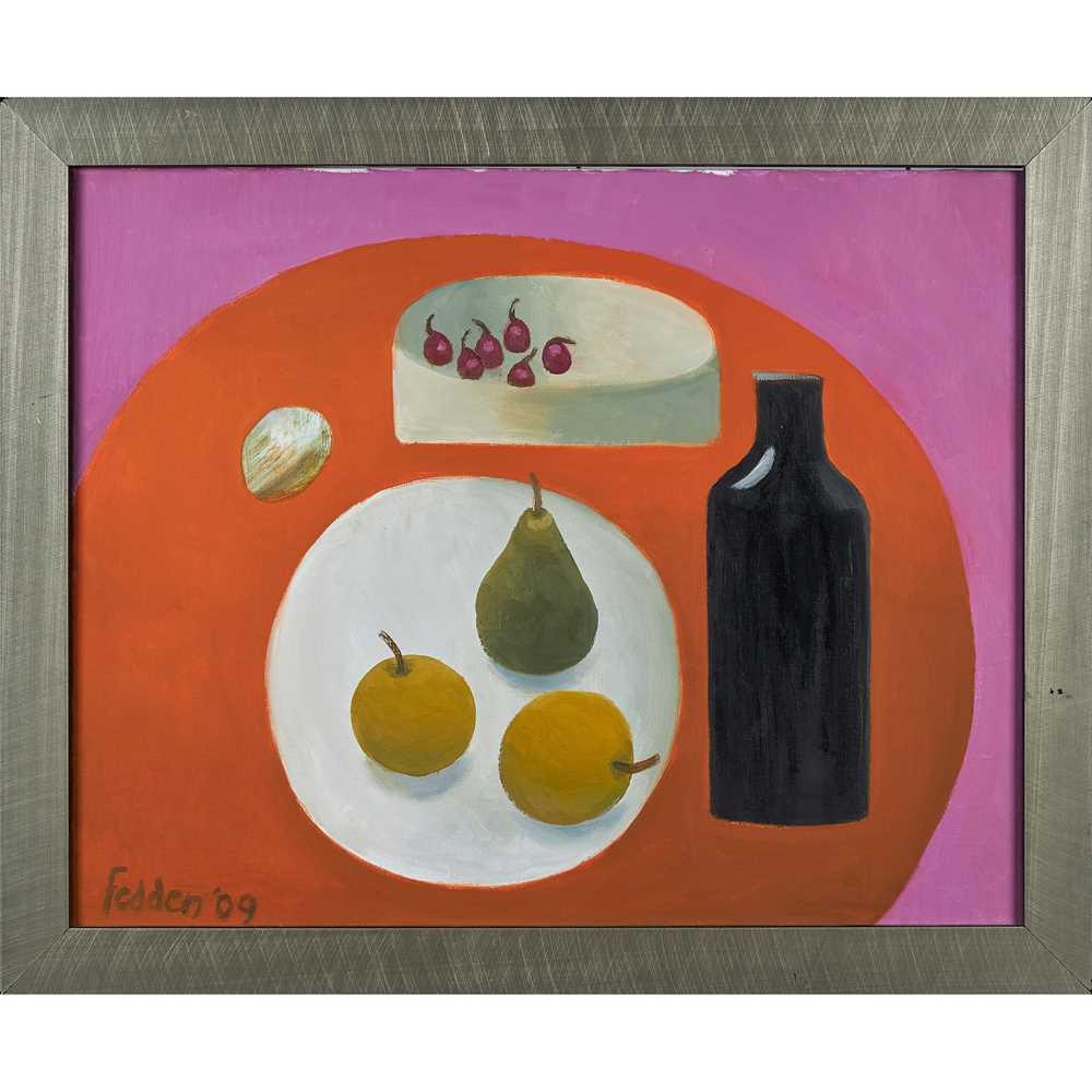Mary Fedden O.B.E., R.A., R.W.A. (British 1915-2012) Black Bottle, Pear and Apples, 2009 - Image 2 of 2